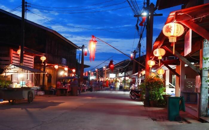 Krabi Walking Street during evening