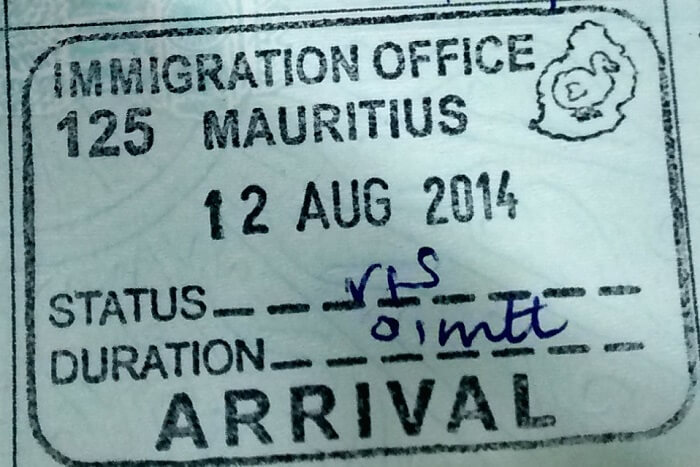 visa stamp on arrival in mauritius