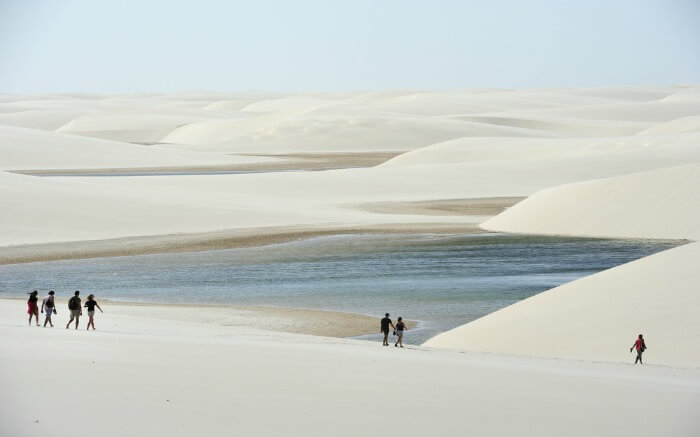 People walking around Lencois Maranhenses National Park