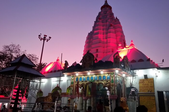 The Samaleswari Temple in Sambalpur region of Orissa lit at night for the prayers