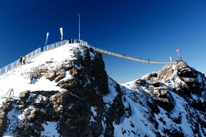 Snow coated Peak Walk in Switzerland
