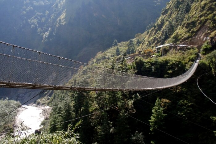 The breathtaking Hanging Bridge of Ghasa in Nepal