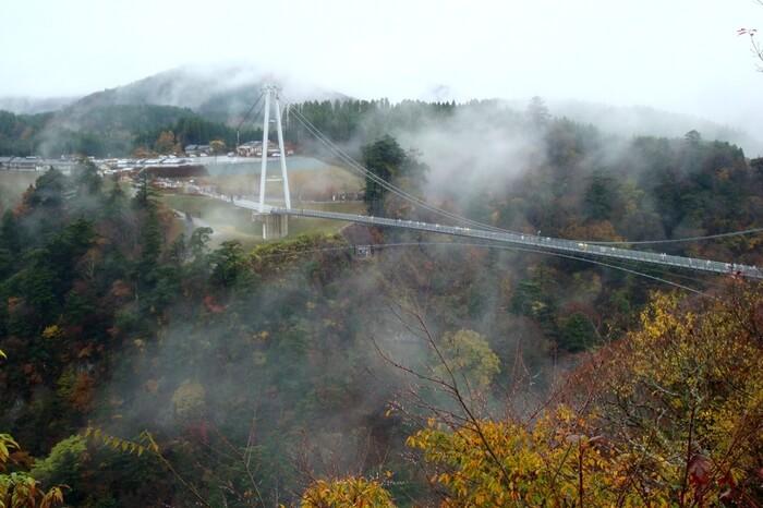The mist filled environs of Kokonoe Yume Bridge in Japan