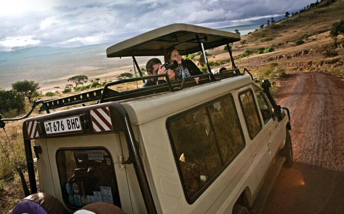 A couple enjoying safari in Tanzania