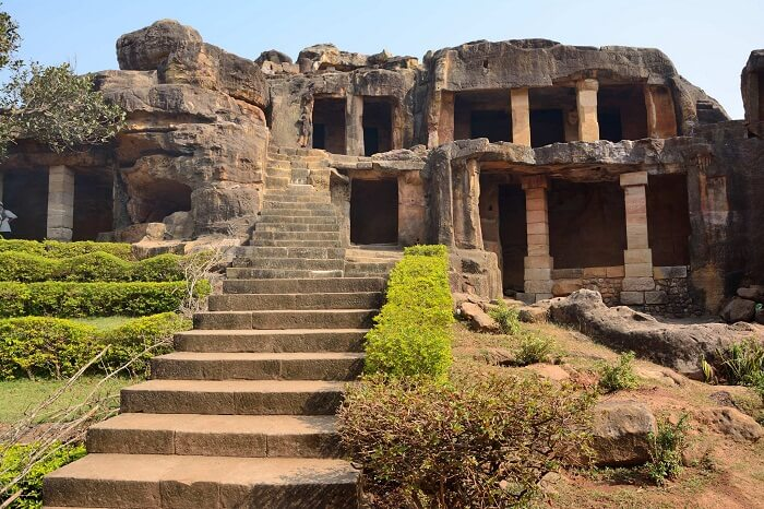 The fleet of stairs leading to the caves of Udayagiri and Khandagiri in Orissa