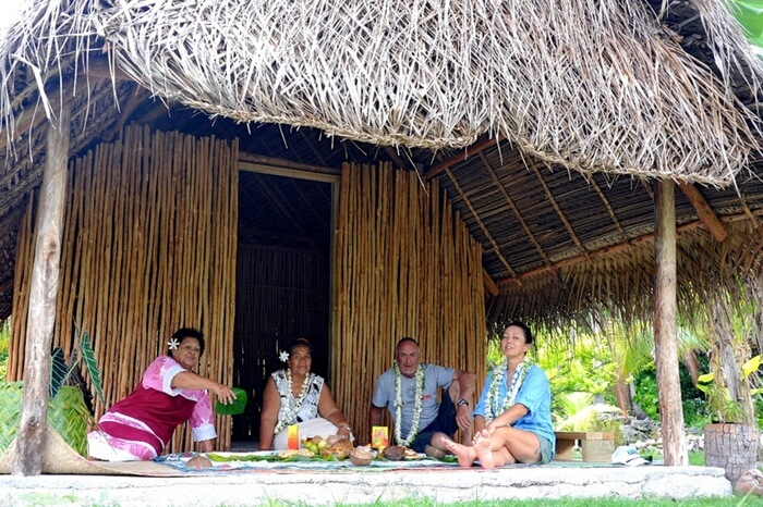 Travelers spending relaxing moments at a homestay