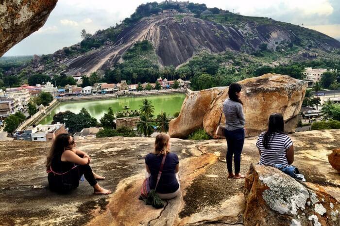 Volunteer travelers exploring the destination