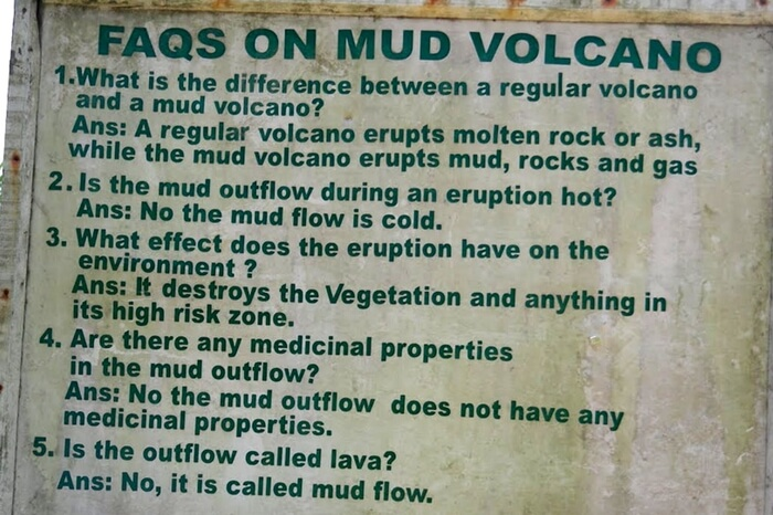 Board with FAQs on mud volcanoes