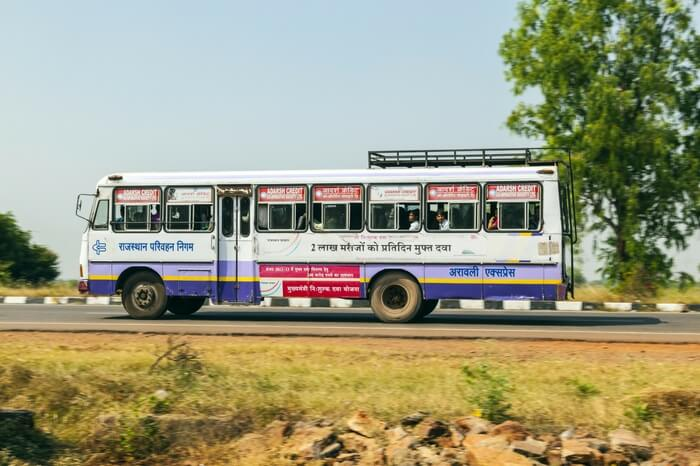 A bus of Rajasthan roadways carrying passengers
