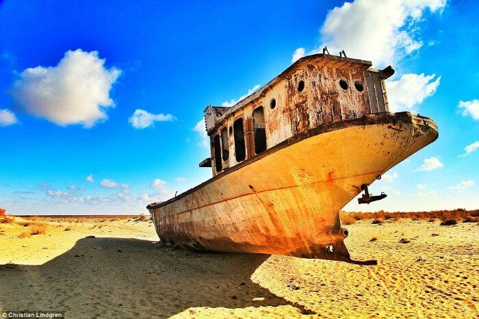 one of the many abandoned boats in The Aral Sea