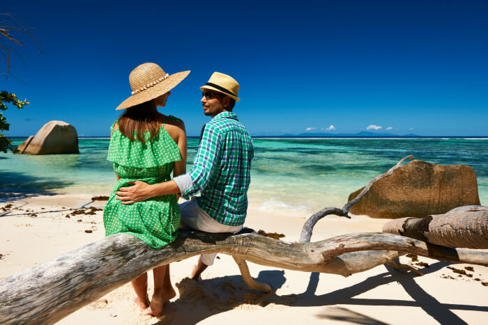 a couple on their honeymoon in seychelles