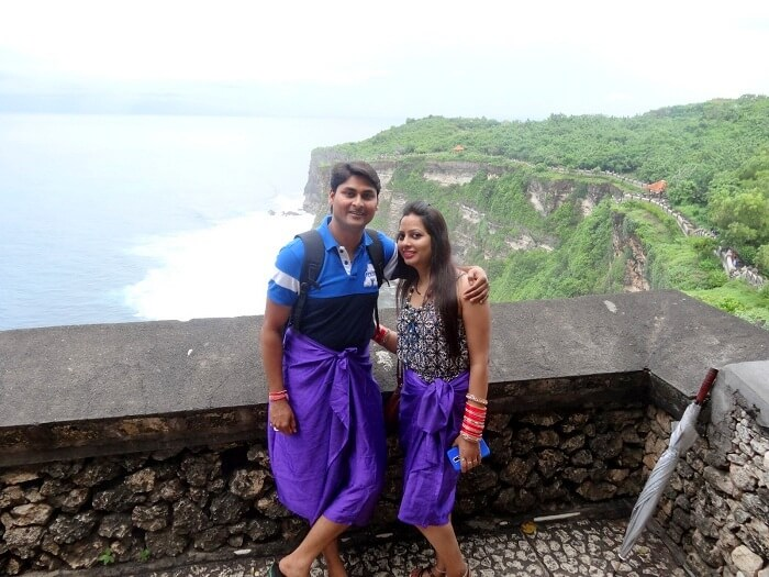 Suraj and his wife take the temple tour in Bali