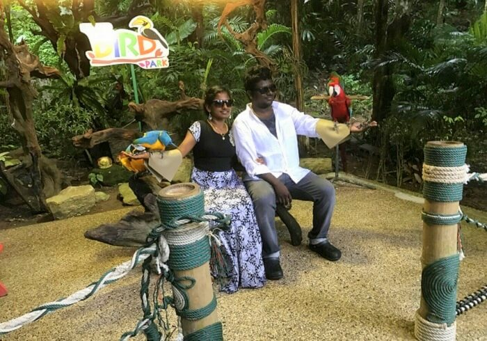 Jegen and his wife at the bird park in Phuket