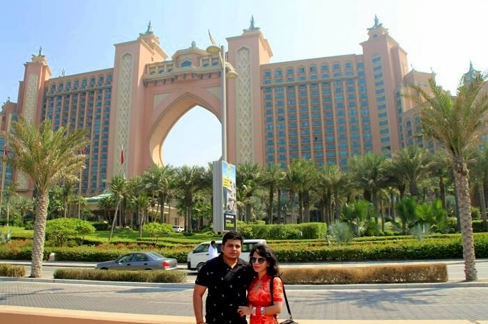 Parag and his wife at the Atlantis hotel in Dubai