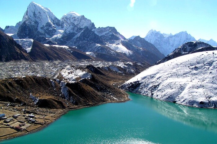 The beautiful looking Gokyo Lake in the Himalayas