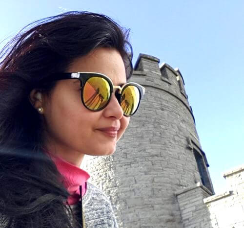 Pooja exploring the castles in Ireland