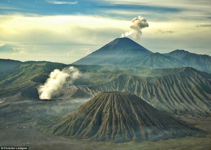 Mount Bromo, an active volcano in indonesia
