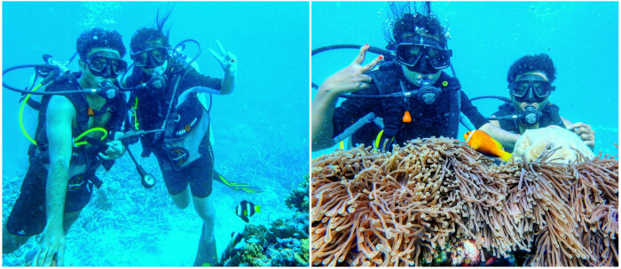 kishor & wife indulging in a fun session of scuba diving in maldives