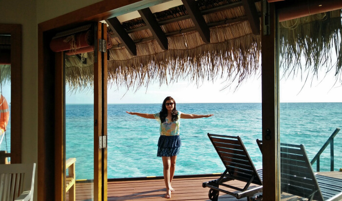 kishor's wife enjoying her stay in the dreamy water villa in maldives