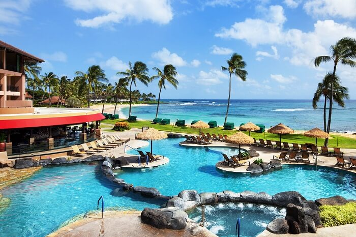 A shot of the ocean facing swimming pool at the Sheraton Resort on Kauai island in Hawaii