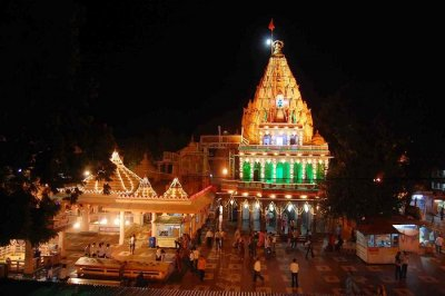 A night shot of the Mahakaleshwar Temple