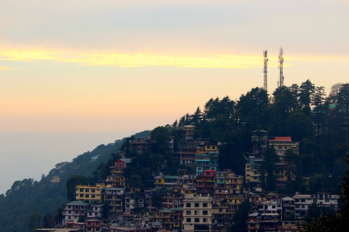 the town of mcleodganj at dusk
