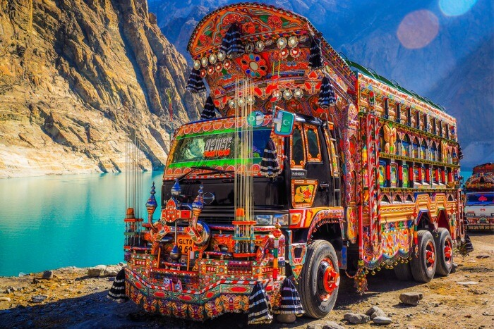 a decorated pakistani truck