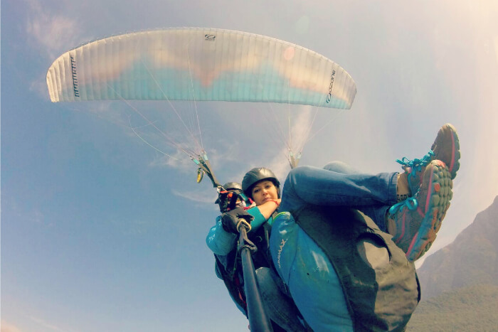 taking selfies while paragliding over Bir and Billing