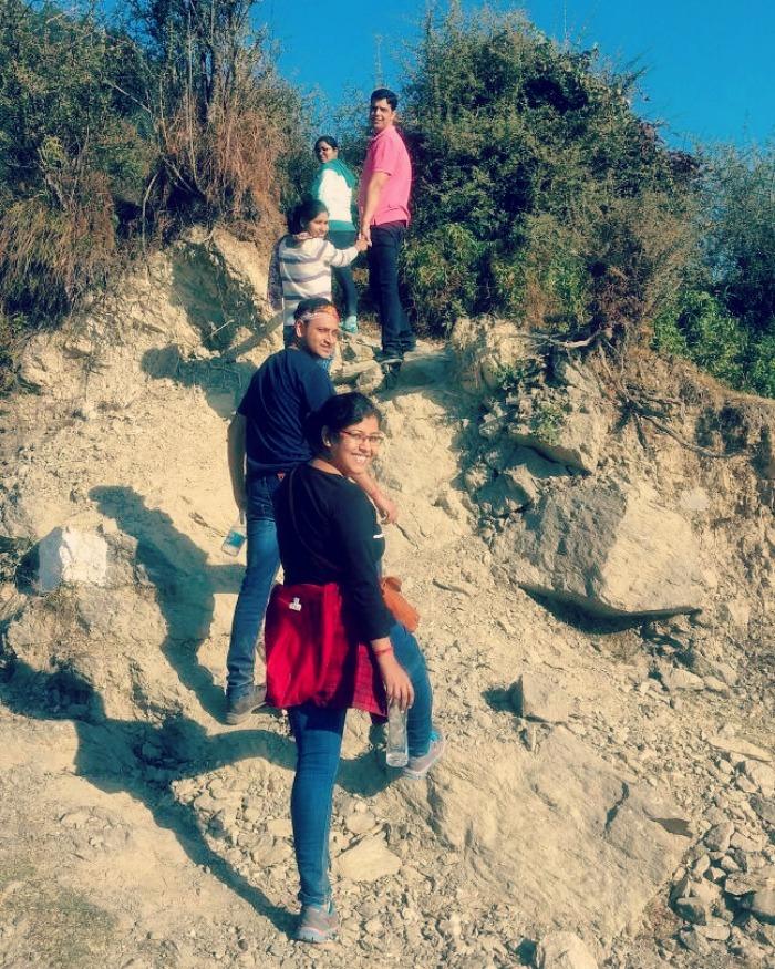 me and my friends trekking in Bir Billing