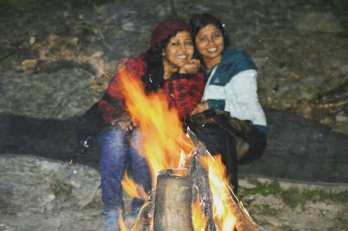 Enjoying a bonfire night with friends