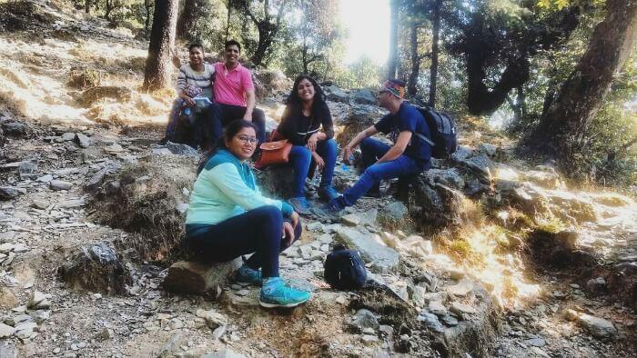 trekking to campsite in Bir
