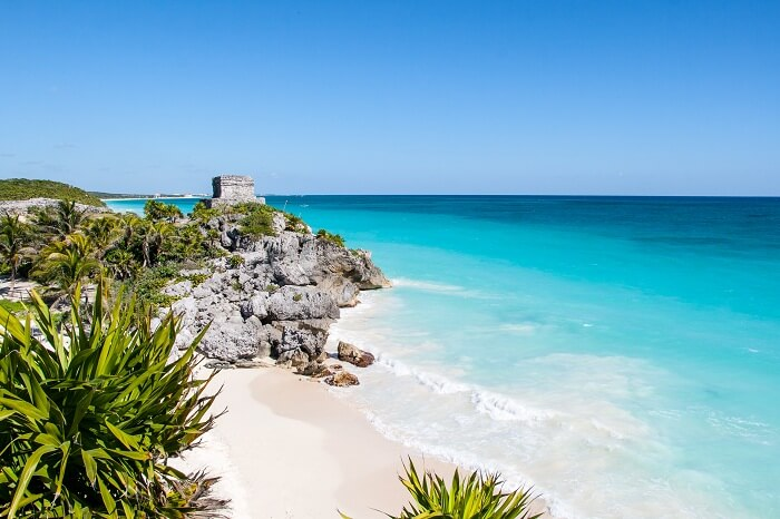 Mayan ruins and sea waves in Tulum Beach