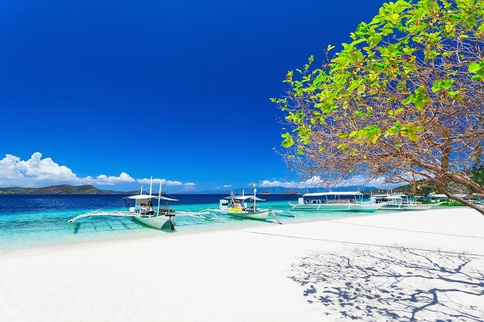 View of the White Beach in Philippines that is a picture-perfect white sand beach