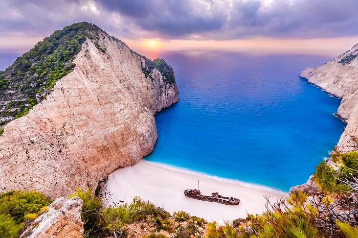 Aerial view of Navagio Beach that is one of the best sandy white beaches in the world