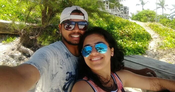 Sourabh taking a selfie during a honeymoon trip to Mauritius