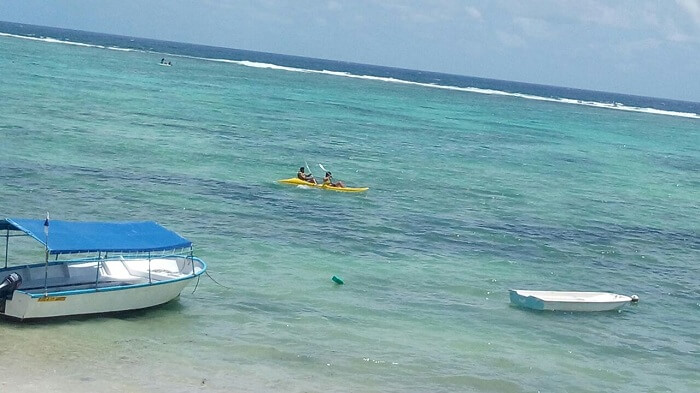 Couple enjoying kayaking in Mauritius