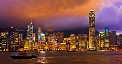 A glittering Hong Kong city at sunset