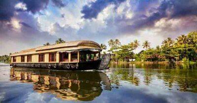 A houseboat in the backwaters in Kerala