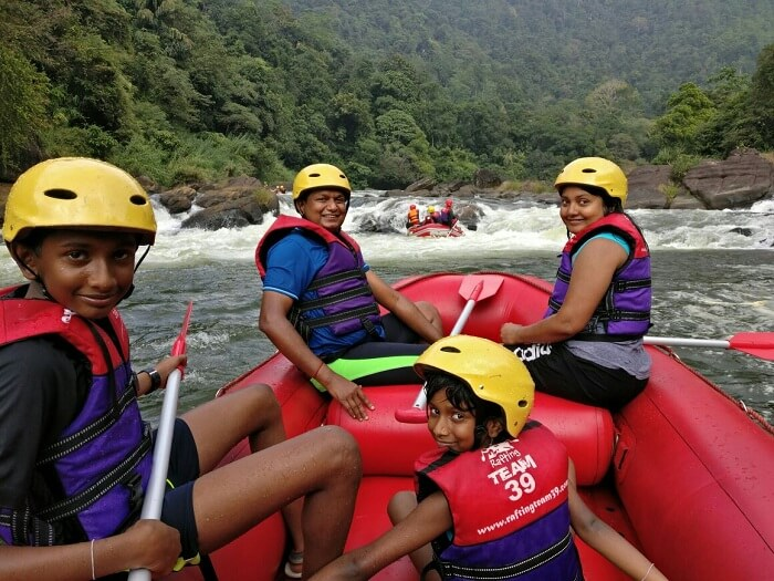 Family enjoying rafting