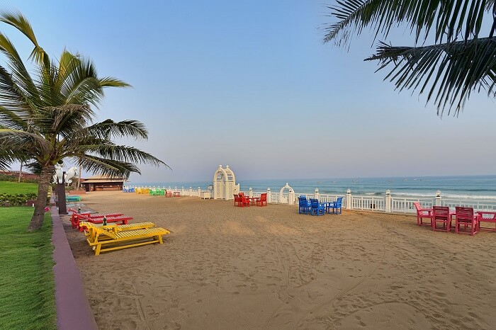 The beach-side seating at Mayfair on the Gopalpur Beach