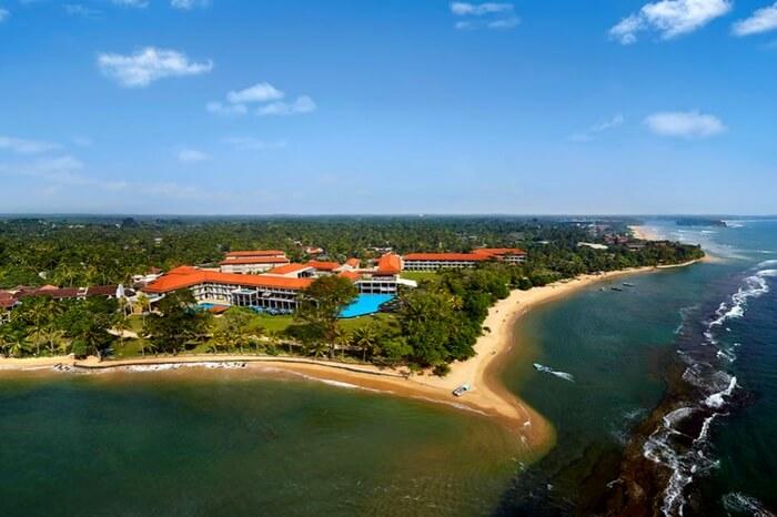 Aerial view of Cinnamon Bey in Beruwala in Sri Lanka