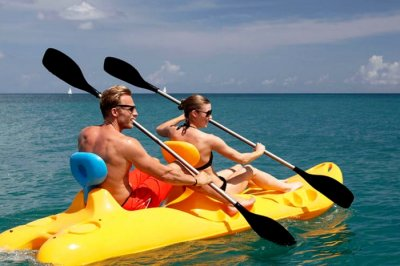 Couple during a boating session in Sri Lanka