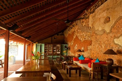 A well laid out dining area of a resort in Sri Lanka