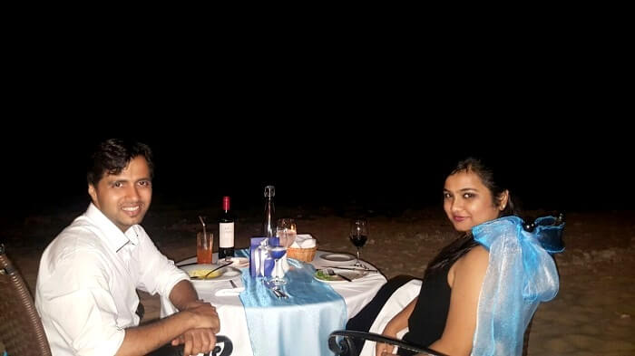 Romantic dinner on a trip to Mauritius