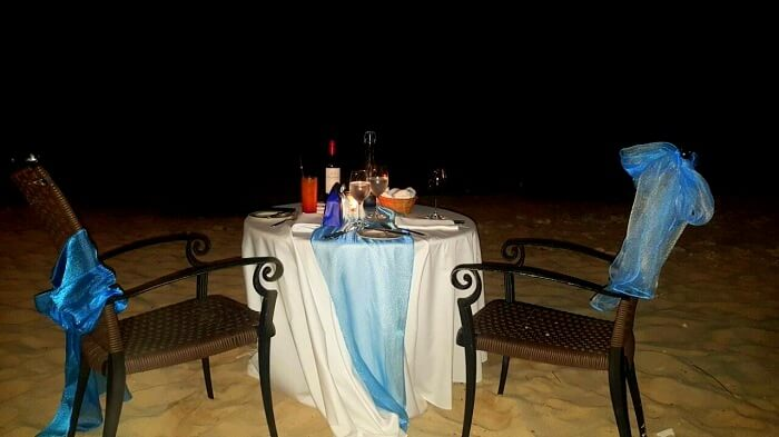 Romantic dinner at Le Meridian mauritius