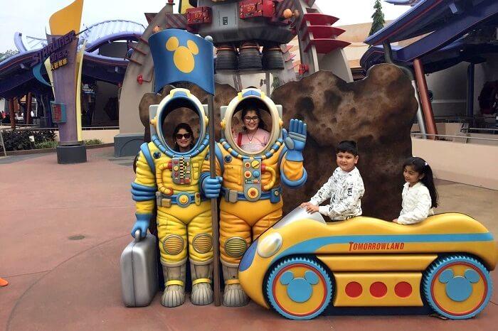 Outside tomorrowland in Disneyland
