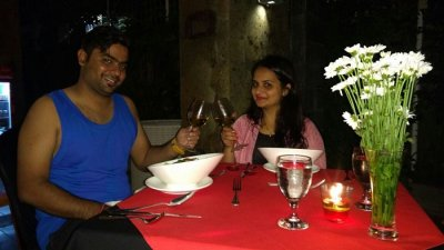 couple having dinner in Bali