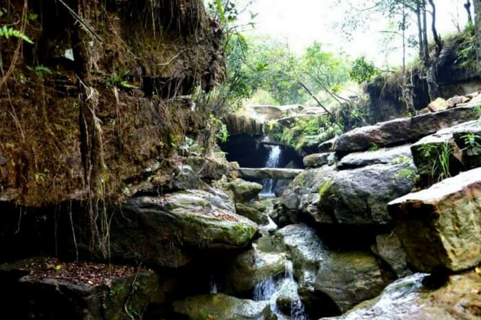 Stream of water flowing amid rocks in Garden of Caves in Meghalaya