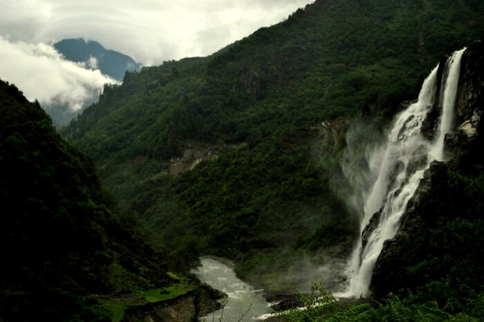 A view of Nuranang Waterfall in Arunachal Pradesh