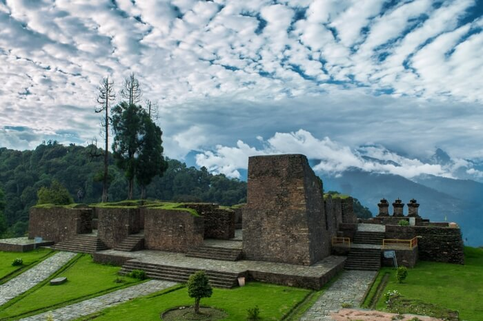 The rustic ruins of Rabdentse in Sikkim overlooked by Kenchenjunga